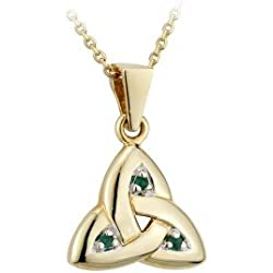 14k Yellow Gold and Emerald Trinity Knot Necklace-Irish Made