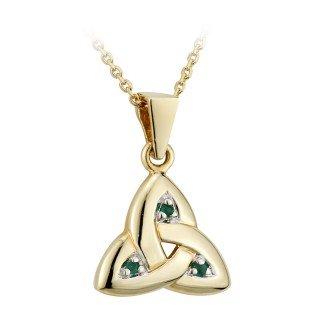 14k Yellow Gold and Emerald Trinity Knot Necklace-Irish Made - 14k Trinity Knot Pendant