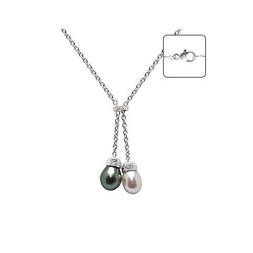 Collier en Or Blanc 750/1000, Diamants et Perle de Culture Blanche et Perle de Tahiti -Blue Pearls-BPS K012 W