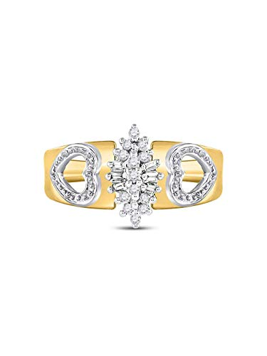 (10kt Yellow Gold Womens Round Diamond Double Heart Cluster Ring 1/8 Cttw)