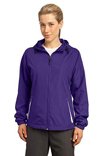 Sport-Tek - Ladies Colorblock Hooded Windbreaker Jacket. LST76 - XXXX-Large - Purple / White ()