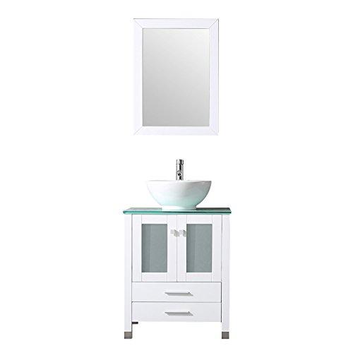Sliverylake Bathroom Vanity Top Single Ceramic Vessel Sink Cabinet MDF Wood w/Mirror (24'', Sink Bowl)
