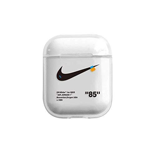 Hard Plastic Sports Basketball Brand Logo Clear Case for Apple Airpods 1 2 Protective Mini Bag Protector Shockproof High Fashion Brand Boys Teens Men Boyfriend Husband Guys