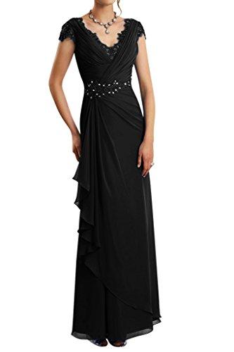 Schwarz Etui Chiffon Gorgeous Ballkleid Bride Lang V Abendkleid Ausschnitt Modern Brautmutterkleid wC1Xwv