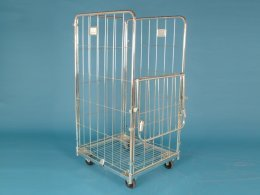 The Workplace Depot 4-Sided Demountable Bright Zinc Plated Roll Container for Industrial Use - 500kg 1520x715x800 mm