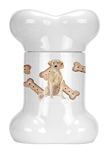 (Caroline's Treasures CK2390BSTJ Yellow Labrador Retriever Bone Shaped Treat Jar, 9 in in, Multicolor )
