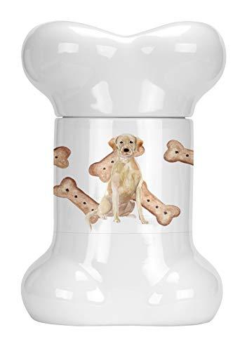 Caroline's Treasures CK2390BSTJ Yellow Labrador Retriever Bone Shaped Treat Jar, 9 in in, Multicolor
