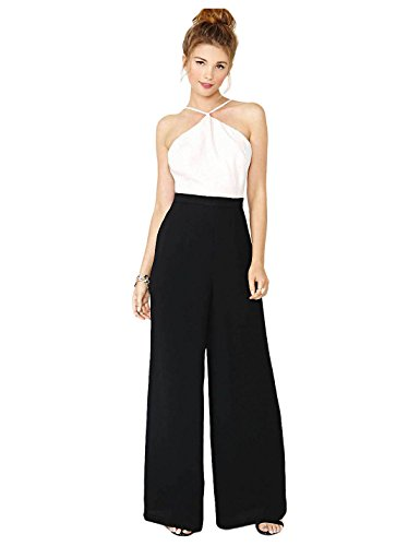 Yacun Women's Sexy Halter Backless Splice Black and White Jumpsuit ZN8049