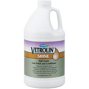 Vetrolin Farnam Shine Coat Polish and Conditioner | for Horses, Ponies and Dogs | Continuous Spray | 64 oz Refill