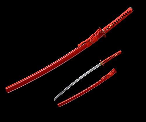 Real Samurai Sword 41'' Sharp Blade Battle Ready Katana Handmade Japanese Sword with Red Scabbard