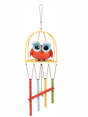 Ganz Vintage Antiqued Birdcage Owl Wind Chimes (Orange Owl)