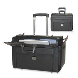 Bond Street, Ltd. 546110BLK Rolling Computer/Catalog Case, Leather, 19 x 9 x 15-1/2 Inches, ()