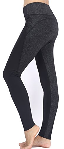 Neonysweets Womens Running Yoga Pants Workout Leggings With Pocket Black Gray M