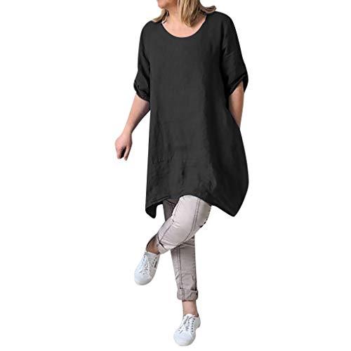 (Alangbudu Women's Half Sleeve Tunic Dress V Neck Loose Swing Shift Linen Dresses Black)