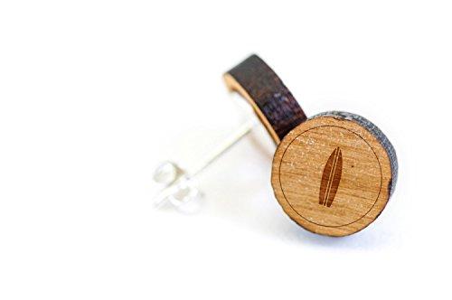 Surfboard Earrings - WOODEN ACCESSORIES COMPANY Wooden Stud Earrings With Surfboard Laser Engraved Design - Premium American Cherry Wood Hiker Earrings - 1 cm Diameter