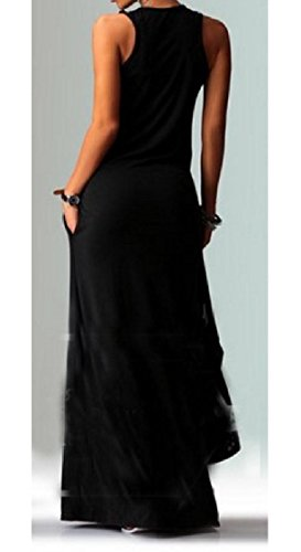 Neck Round Dress Sleeveless Women Color Black Full Length Patterned Coolred Pure w6AYBqX