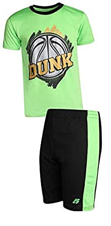 Pro Athlete Boys 2-Piece Performance Basketball Shirt and Short Set - Green - 10/12
