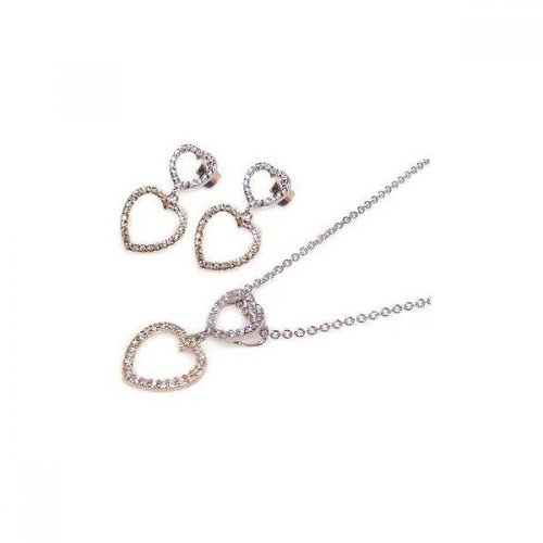 Unique Sterling Silver Rhodium Plated Graduated Two Open Heart Mircro Pave CZ Dangling Earring Necklace Set by America's Jewelry Co.