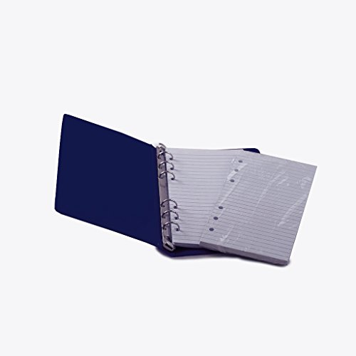 """HNR BLUE Loose-Leaf Memo Book, 6 3/4 x 3 3/4"""", 6-Ring Binder, 80 Pages + Free Refill 80 Pages"""