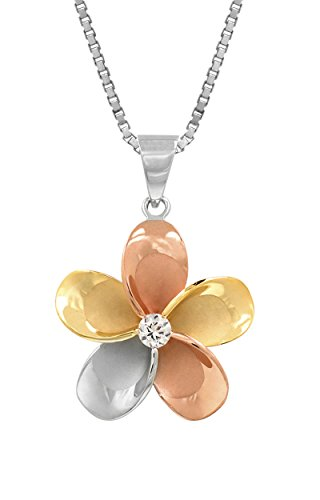 - 14k Gold Tri-Color Plated Sterling Silver Plumeria CZ Necklace Pendant with 18
