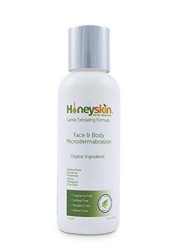 Organic Microdermabrasion Facial Scrub Exfoliator (4 oz) Sensitive Skin, Rosacea, Psoriasis, Eczema, Acne, Manuka Honey, Botanicals, No Harsh Chemicals, No Salts or Cutting Nutshells by Honeyskin