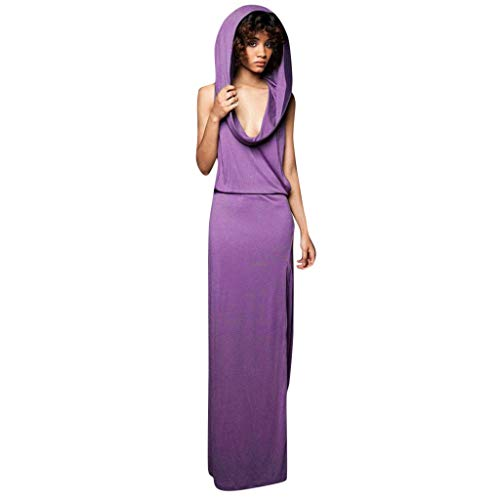 Top Loose Women's Dress Backless Sleeveless Hooded Maxi Long Dresses Vintage Celtic Medieval Skirt Ladies Gown Sundress(Purple,S)]()