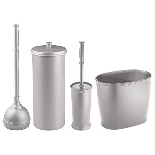 mDesign Modern Plastic Bathroom Storage and Cleaning Accessory Set - Includes Toilet Plunger, Bowl Brush, 3 Roll Toilet Paper Canister with Lid, Wastebasket Trash Can, Garbage Bin - 4 Pieces - Silver