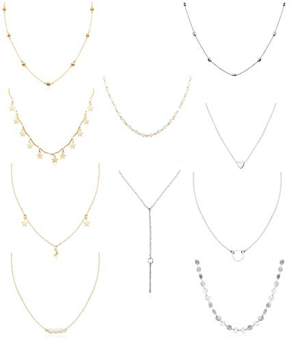 FUNRUN JEWELRY 10PCS Layered Chocker Necklace for Women Girls Multilayer Chain Necklace Set Adjustable (5PCS Gold-Tone+5PCS Silver-Tone) - Coin Pearl Layered Necklace