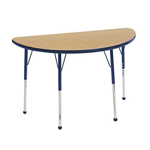 ECR4Kids Mesa T-Mold 24 x 48 Half Round School Activity Table Toddler Legs w/Ball Glides Adjustable Height 15-23 inch (Oak/Navy) [並行輸入品] B07K9NSCHC