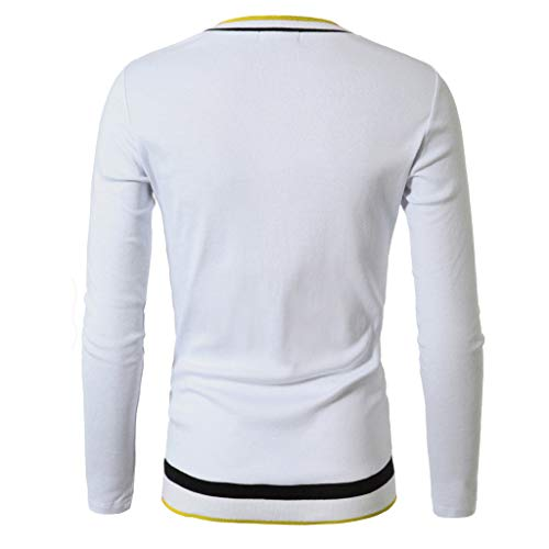 Forthery Men's Fleece Crewneck Sweatshirt Long Sleeve V Neck Beefy Henley T-Shirt(White,XX-Large)