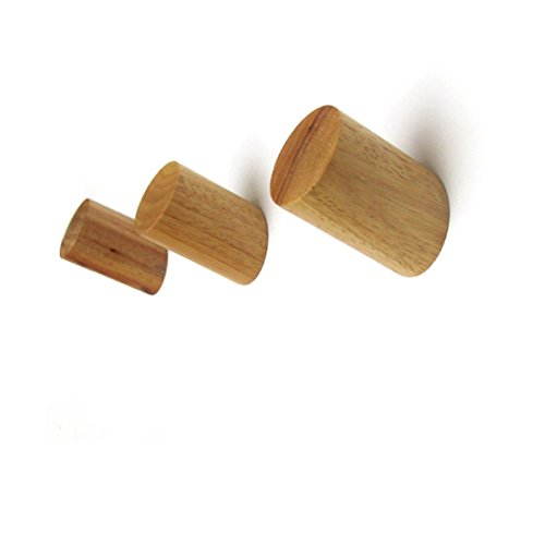 Scandinavian Natural - Natural Wooden Wall Hook Decorative Wall Mounted Hat Hanger, Minimalist Design and Stylish Coat Hooks, Hand-made Towel and Robe Hook (Primary Color,Pack of 3)