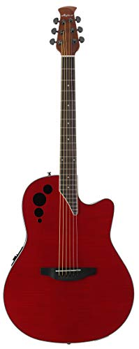 Ovation Applause 6 String Acoustic-Electric Guitar, Right, Cherry Flame, Mid-Depth (AE44IIP-CHF)