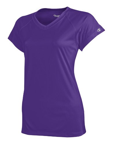 - Champion Women's Essential Double Dry V-Neck Tee_Purple_L