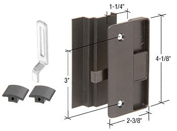 C.R. LAURENCE A219 CRL Black Sliding Screen Door Latch and Pull with 3