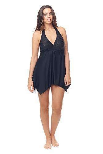 Love My Curves Black Handkerchief Beaded Flowy One Piece Swim Dress (Size -