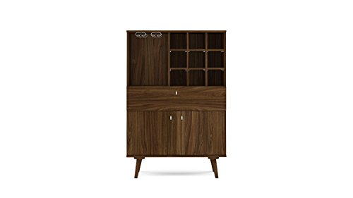 Polifurniture 401603020003 Salamanca Bar/Cabinet with 2 Doors and 1 Drawer, Dark Brown