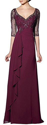 Braut 's emmani Neck Damen Kleid Applikation Mutter Weinrot Chiffon Sleeve V Long 8Br8Uxqw0