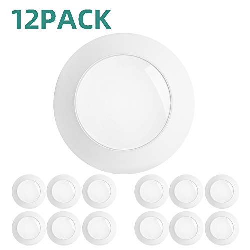 addlon 12 Pack 5/6 Inch LED Disk Light Flush Mount Downlight Recessed Retrofit Ceiling Lights, Installs into Junction Box Or Recessed Can, 15W=120W,5000K Daylight,1100LM,Dimmable,Energy Star&ETL