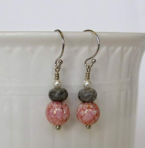 Czech Glass Crackled Pink, Jasper Gray and Swarovski Pearls with Solid 14k White Gold Drop and Dangle Earrings