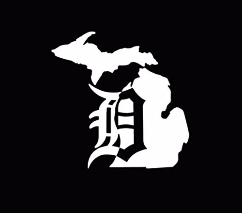 Michigan Mitten Old English D Detroit Tigers Vinyl Decal Car Window White, Die Cut Vinyl Decal for Windows, Cars, Trucks, Tool Boxes, laptops, MacBook - virtually Any Hard, Smooth Surface
