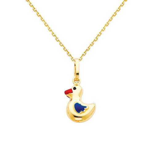 Gold Enamel Duck (Wellingsale 14k Yellow Gold Polished Duck Enamel Charm Pendant with 0.9mm Oval Angled Cut Cable Chain Necklace - 20