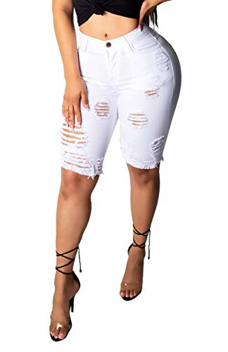 Doris Apparel Distressed High Waisted Bermuda Shorts for Women - Skinny Ripped Jeans White