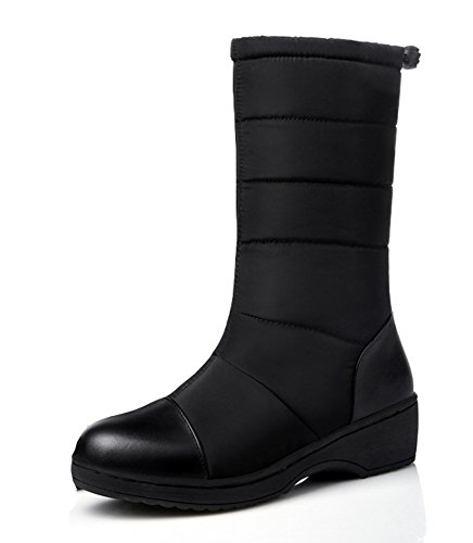 Snow Low Calf Shoes Heels Slip Round Warm Non Aisun On Wedge Platform Slip Women's Boots Dress Black Mid Toe zpw6nZq