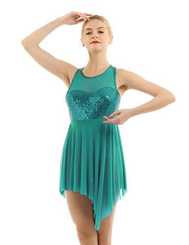 - YiZYiF Women's Adult Lyrical Dance Leotard Costume Sequins Overlay Trianglar Cut Skirt Dark Green Medium