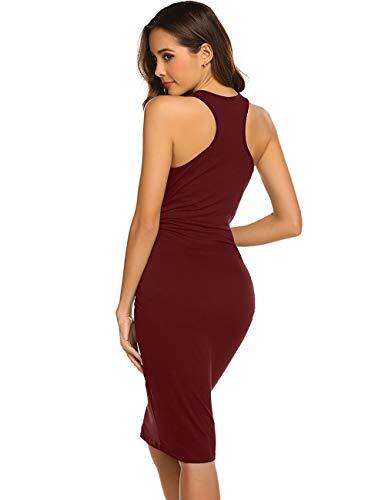 Women's Sleeveless Casual Bodycon Midi Elegant Cocktail Party Dress (X-Large, Burgundy)