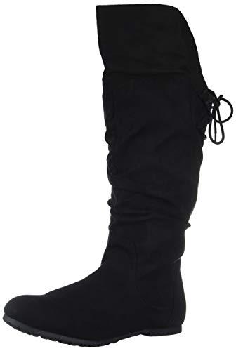 (Rampage Women's Bonanza Back Lace-Up Knee-High Boot, Black Micro 8.5 M US)