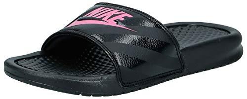 Nike Women's Benassi Just Do It Sandal, Black/Vivid Pink-Black, 5 Regular US