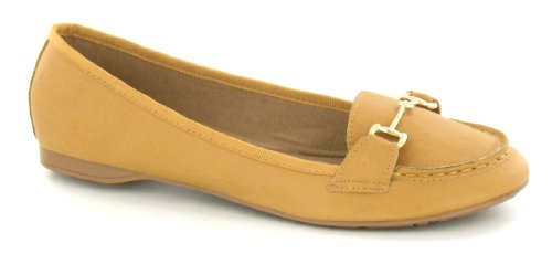Shoe Spot Metal Tan Flat Brown Vamp Trim On qqpPwER