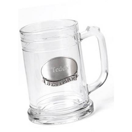 Personalized Pewter Medallion Glass (Engraved Glass Mug w/Pewter Medallion - Plain)