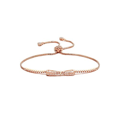 SHINCO Bella Lotus Cute Bowknot 18k Rose Gold Plated Chain CZ Diamond Charm Bracelets Women Girls Jewelry, Gifts for Thanksgiving Day, Christmas and New Year